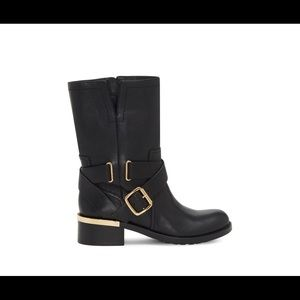 Vince Camuto 8 black leather boot with gold trim